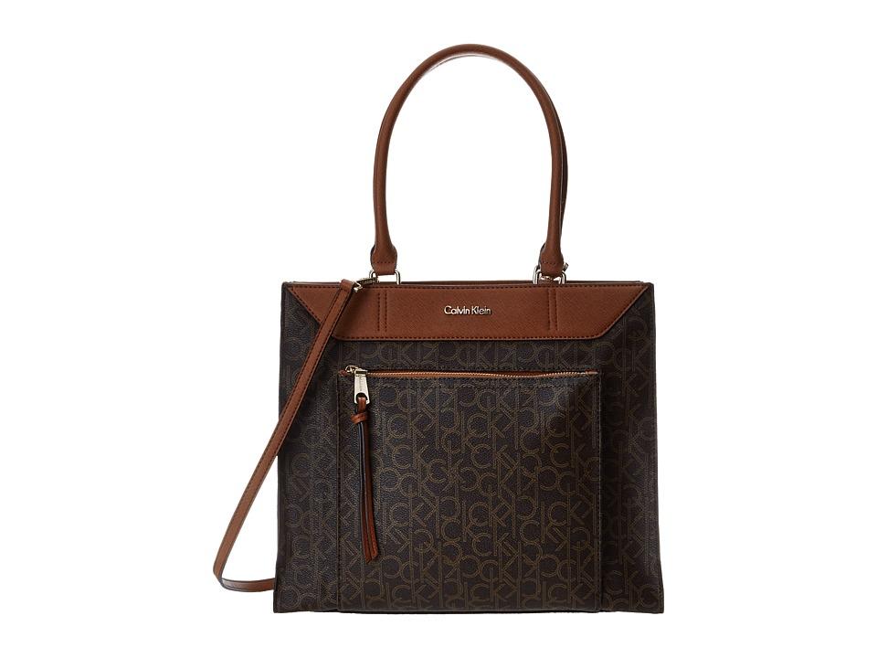 Calvin Klein - Calvin Klein Monogram Tote (Brown/Khaki/Luggage Saffiano) Tote Handbags
