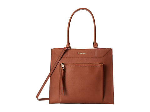 Calvin Klein - Saffiano Leather Tote (Luggage) Tote Handbags