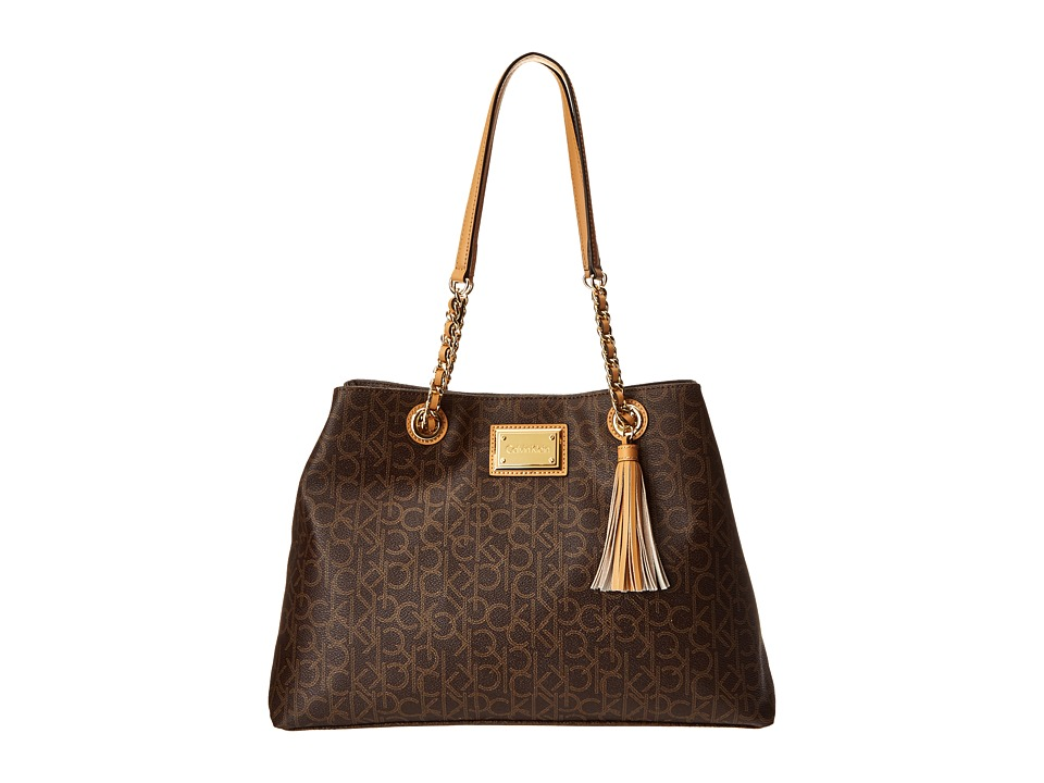 Calvin Klein - Monogram Tote (Brown/Khaki/Camel 2) Tote Handbags