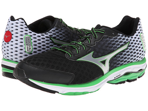 Mizuno - Wave Rider 18 (Black/Silver/Classic Green) Men's Shoes