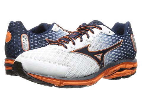 Mizuno - Wave Rider 18 (White/Dress Blue/Vibrant Orange) Men's Shoes