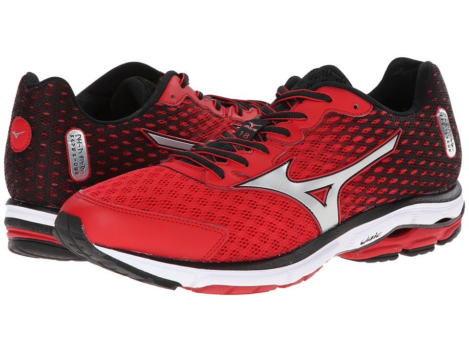 Mizuno - Wave Rider 18 (Chinese Red/Silver/Cyber Yellow) Men's Shoes