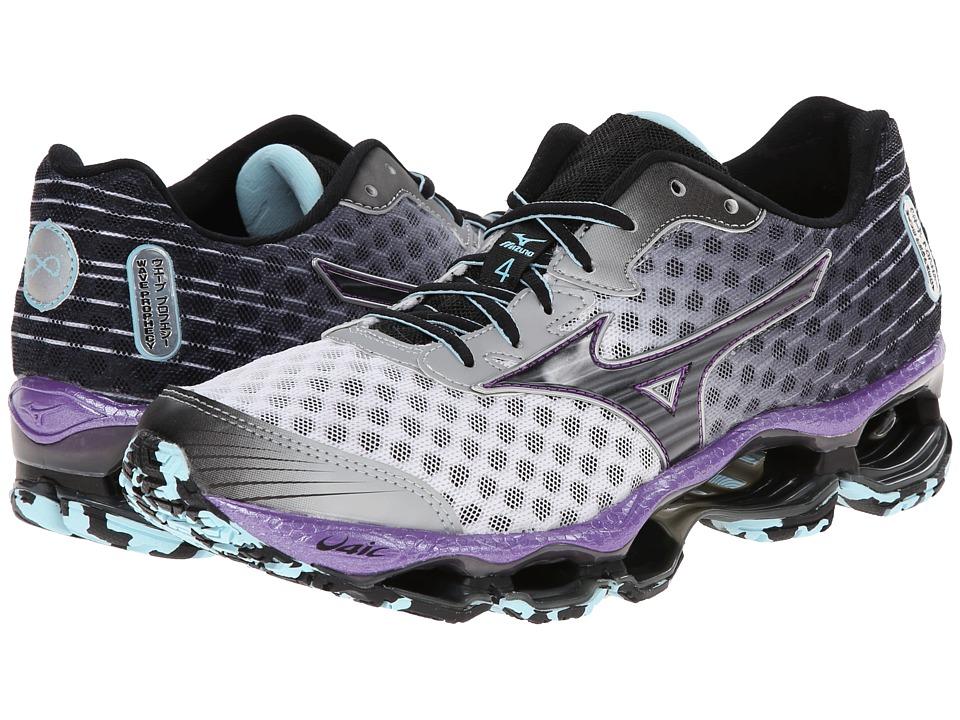 Mizuno - Wave Prophecy 4 (White/Black/Deep Lavender) Women's Shoes