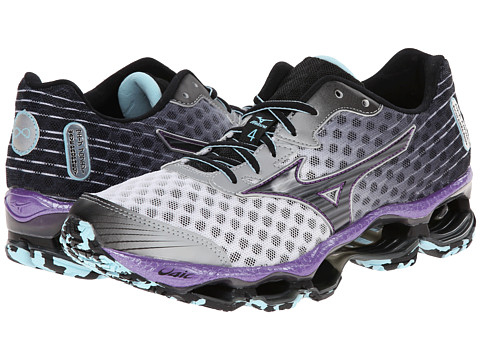 Mizuno - Wave Prophecy 4 (White/Black/Deep Lavender) Women's Shoes