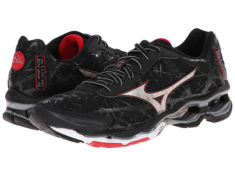 Mizuno - Wave Creation 16 (Black/Silver/Chinese Red) Men's Shoes