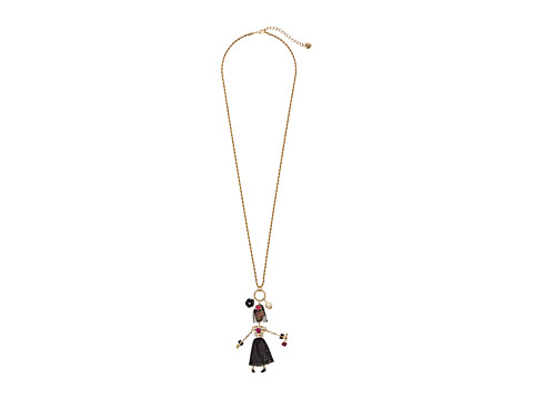 Betsey Johnson - Creepshow Toc Skull Girl Long Pendant 34 Necklace (Pink/Antique Gold) Necklace