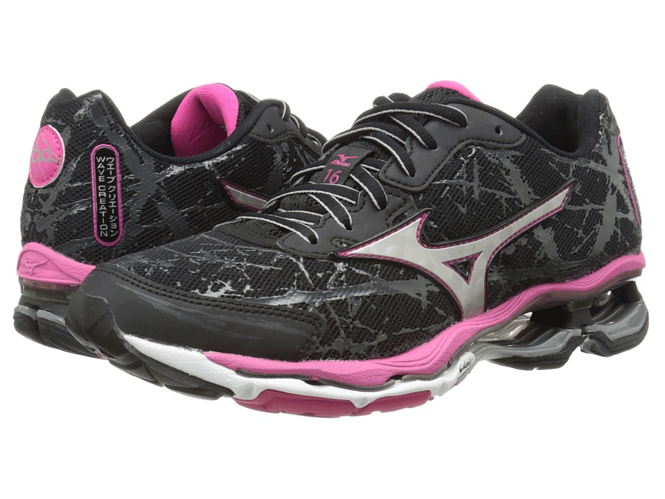 Mizuno - Wave Creation 16 (Black/Silver/Fuchsia Purple) Women's Shoes