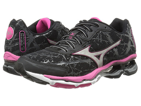 Mizuno - Wave Creation 16 (Black/Silver/Fuchsia Purple) Women