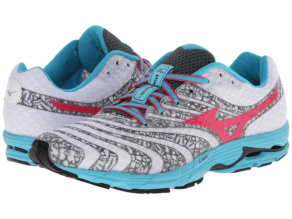 Mizuno - Wave Sayonara 2 (White/Fuchsia Purple/Blue Atoll) Women's Running Shoes