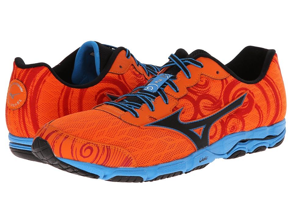 Mizuno - Wave Hitogami 2 (Vibrant Orange/Black/Dude Blue) Men's Shoes