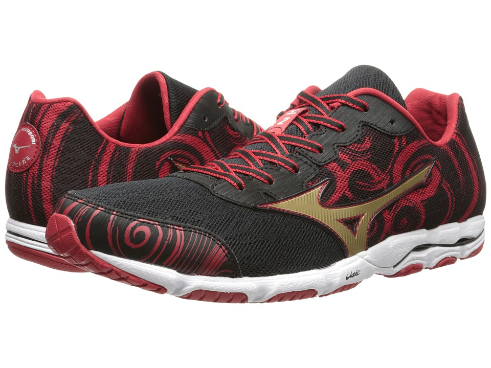 Mizuno - Wave Hitogami 2 (Black/Gold/Haute Red) Men's Shoes