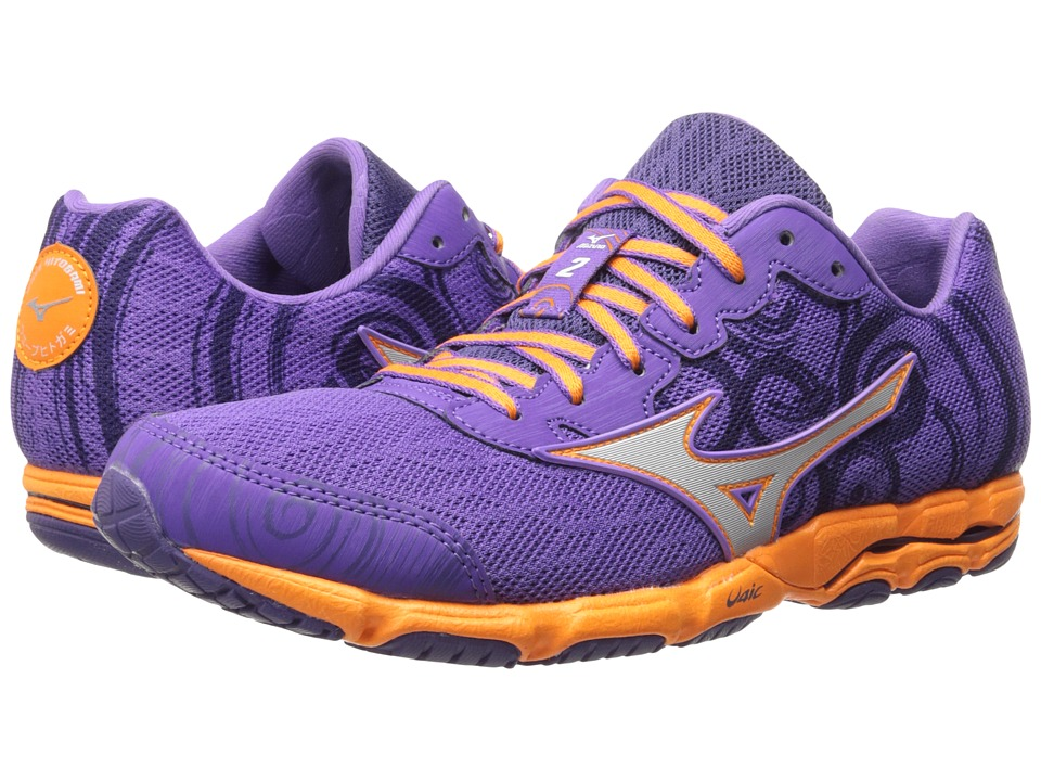 Mizuno - Wave Hitogami 2 (Deep Lavender/Silver/Orange Popsicle) Women's Shoes