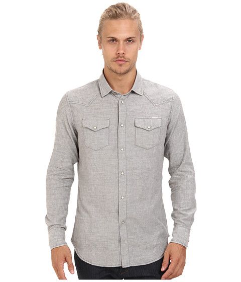 Diesel - S-Trial Shirt (Grey) Men's Long Sleeve Button Up