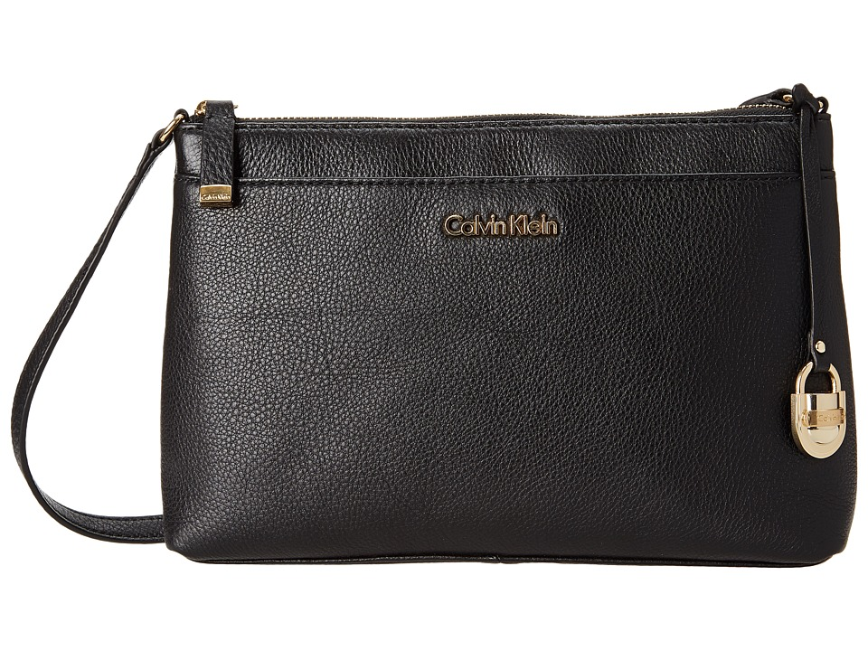Calvin Klein - Leather Crossbody H4GEA2TT (Black/Gold) Cross Body Handbags