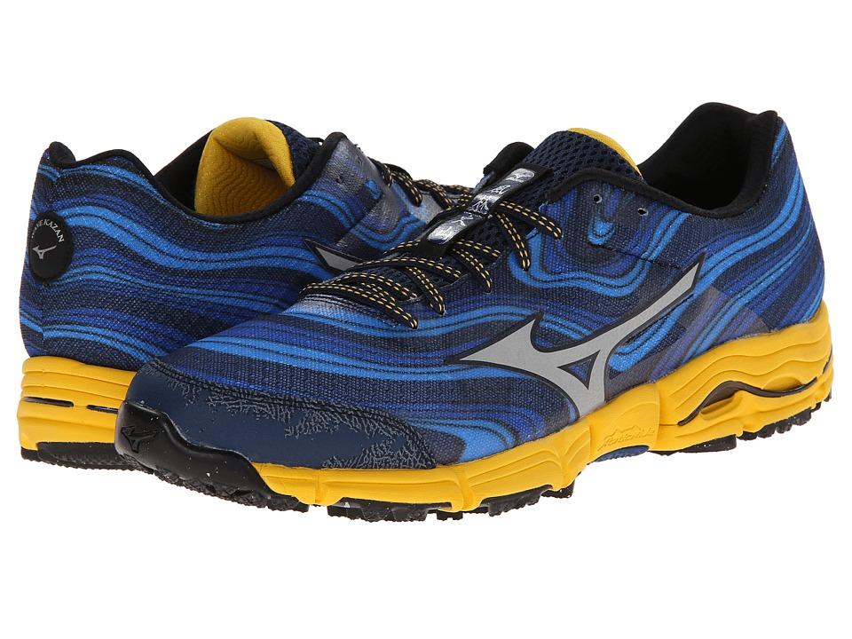 Mizuno - Wave Kazan (Dress Blue/Silver/Spectra Yellow) Men's Running Shoes