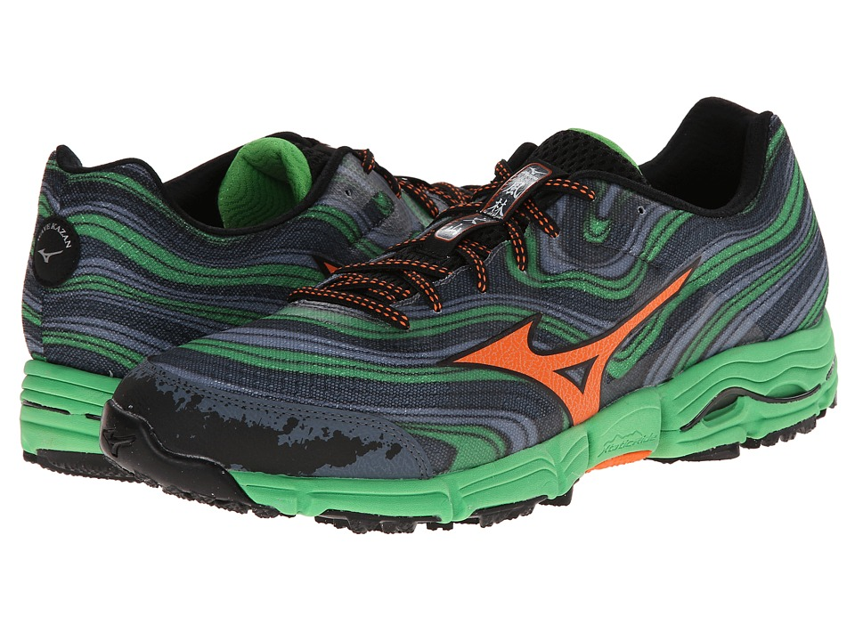 Mizuno - Wave Kazan (Turbulence/Vibrant Orange/Classic Green) Men's Running Shoes