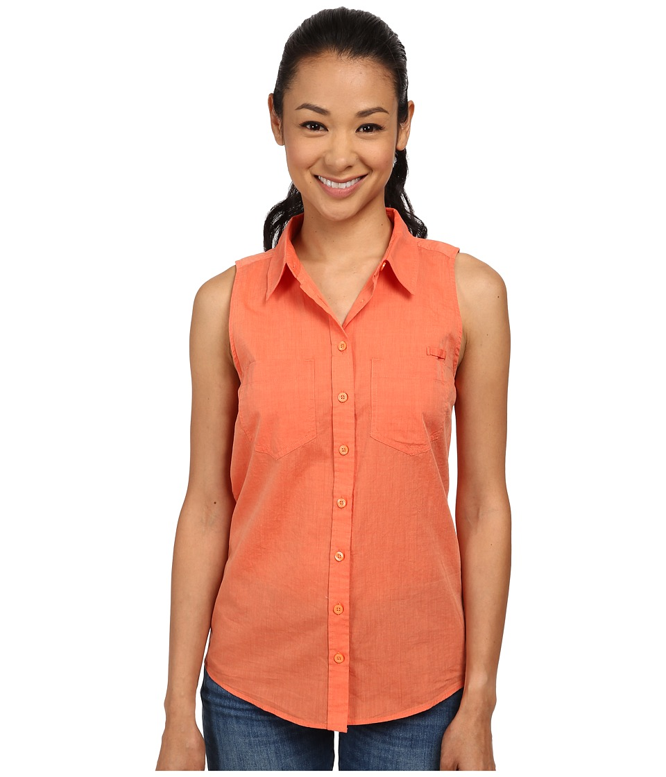 Patagonia - Brookgreen Sleeveless Top (Chambray: Peach Sherbet) Women's Short Sleeve Button Up
