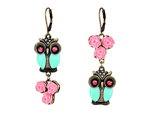 Betsey Johnson - Pet Shop Vintage Owl Non-Matching Earrings (Blue/Pink) Earring
