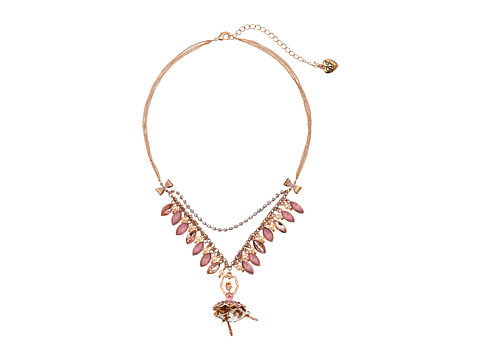 Betsey Johnson - Pinktina Toc Leo Ballerina Frontal Necklace (Pink Multi/Rose Gold) Necklace