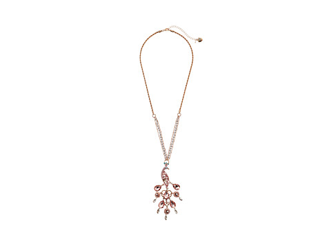 Betsey Johnson - Pinktina Tock Peacock Long Pendant 26 Necklace (Pink Multi/Rose Gold) Necklace