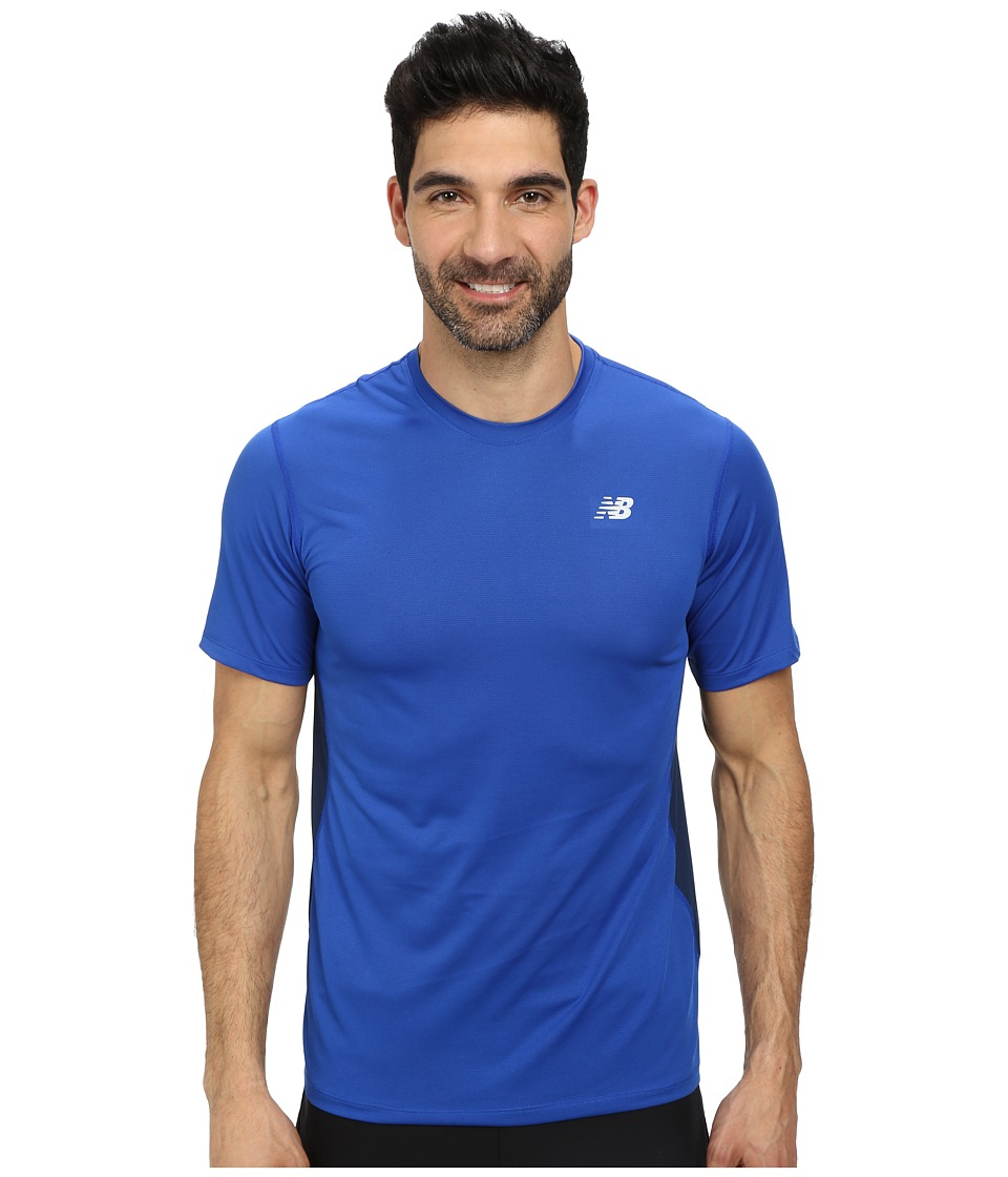 New Balance - Speed Short Sleeve Run Top (Optic Blue) Men's Clothing
