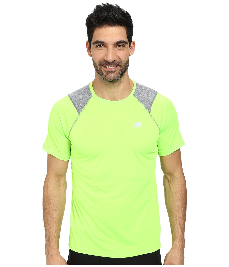 New Balance - Go Run Short Sleeve Top (Chemical Green) Men's Clothing