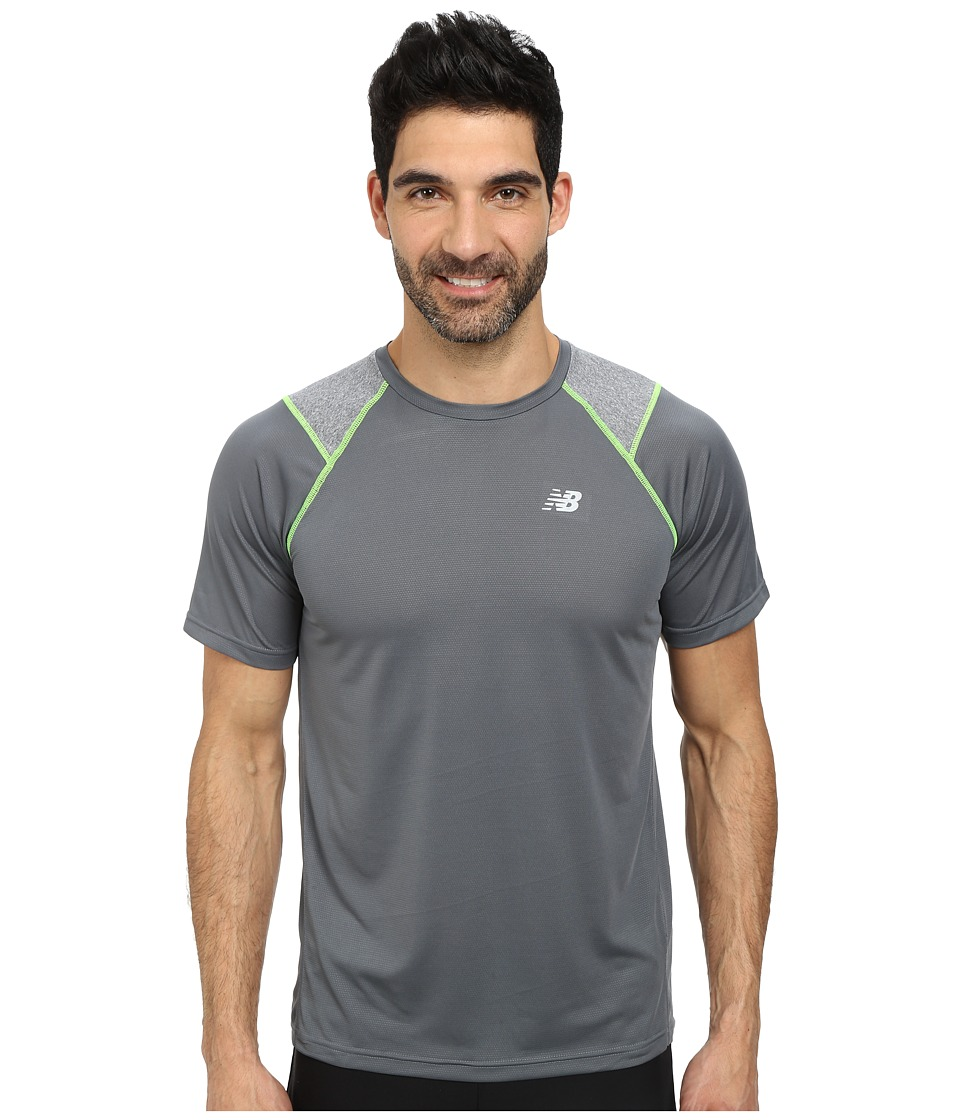 New Balance - Go Run Short Sleeve Top (Lead) Men's Clothing