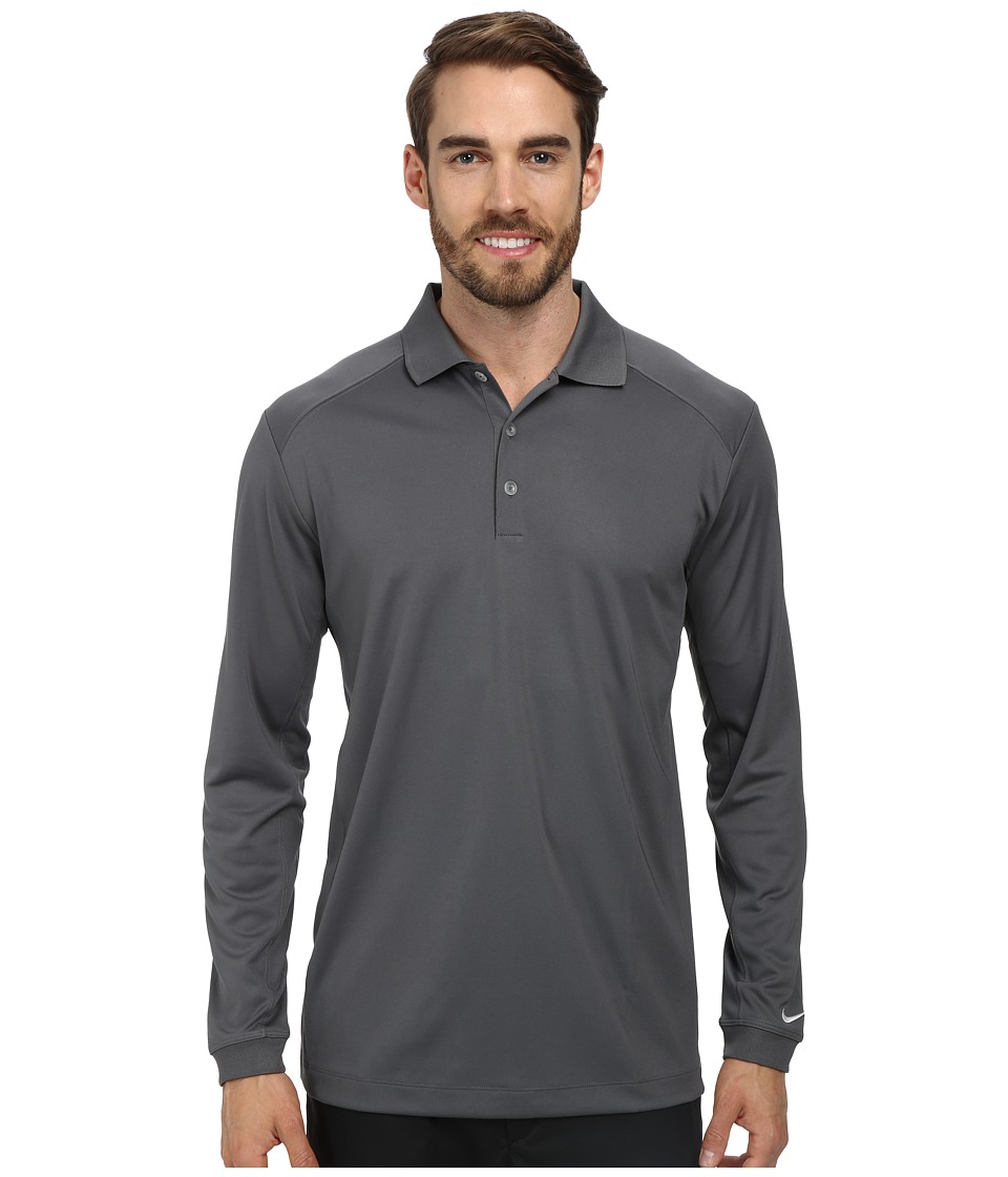 Nike Golf - UV Nike Victory L/S Polo (Dark Grey/White) Men's Long Sleeve Pullover