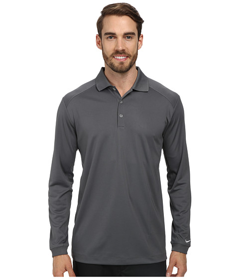 Nike Golf - UV Nike Victory L/S Polo (Dark Grey/White) Men