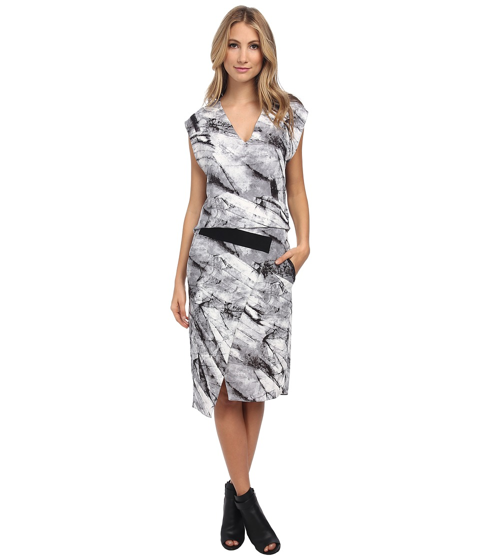 HELMUT LANG - Terrene Print Silk Contrast Dress (Grey Multi) Women's Dress