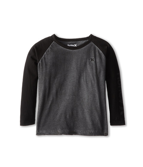 Hurley Kids - OO Lightning Baseball L/S Tee (Little Kid) (Medium Ash) Boy's T Shirt