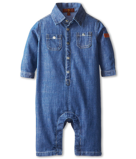 7 For All Mankind Kids - Chambray Romper (Infant) (Light Indigo) Boy's Jumpsuit & Rompers One Piece