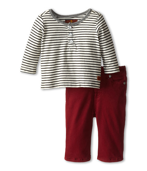 7 For All Mankind Kids - Standard w/ Striped Henley (Infant) (Fisherman Red) Boy