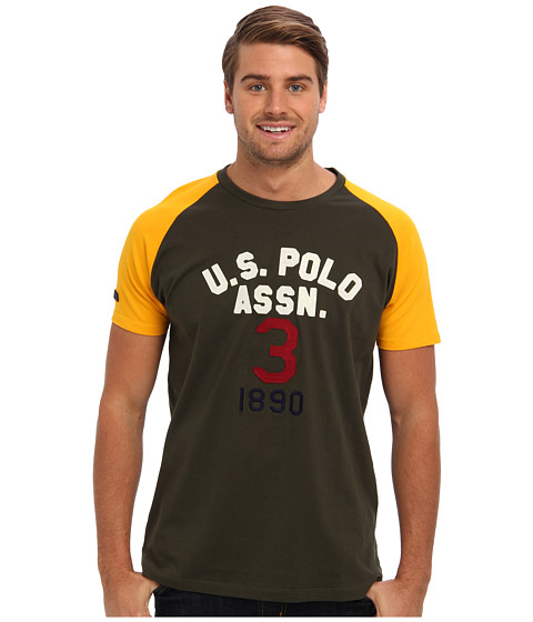 U.S. POLO ASSN. - Raglan Sleeve Baseball Style T-Shirt (Tent Green) Men
