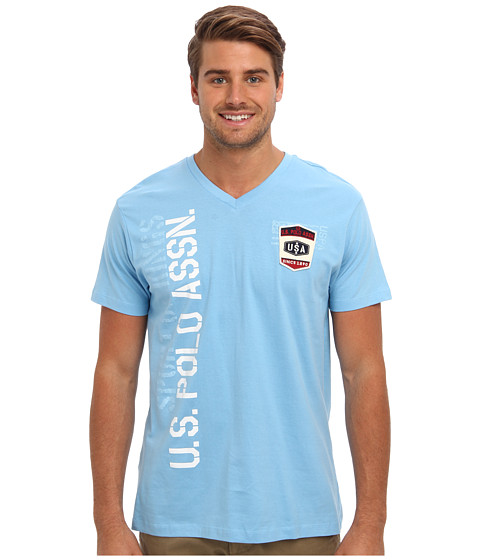 U.S. POLO ASSN. - Print and Patch V-Neck T-Shirt (Alaskan Blue) Men's Short Sleeve Pullover