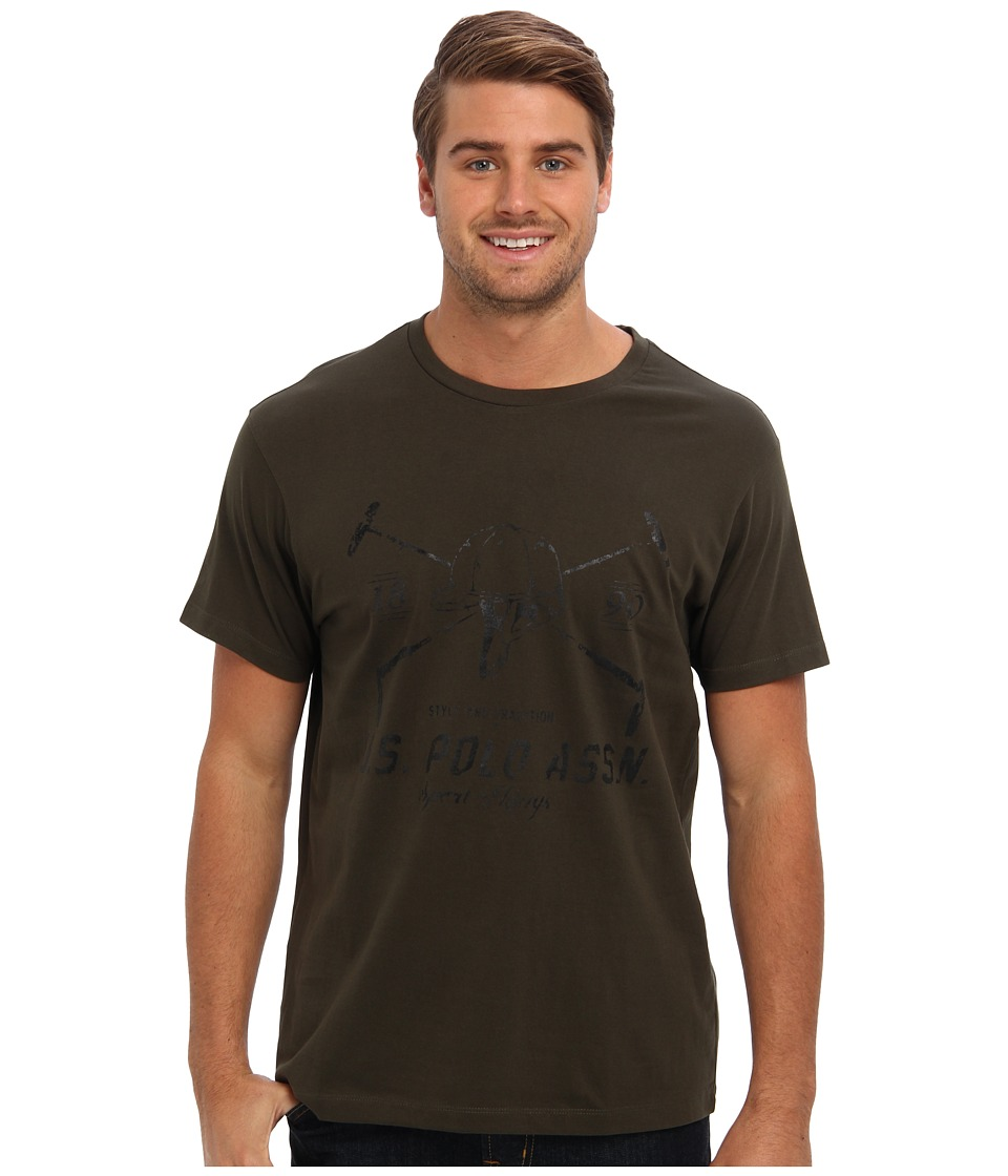 U.S. POLO ASSN. - Short Sleeve Crew Neck T-Shirt w/ Helmet and Mallet Logo (Tent Green) Men's Short Sleeve Pullover