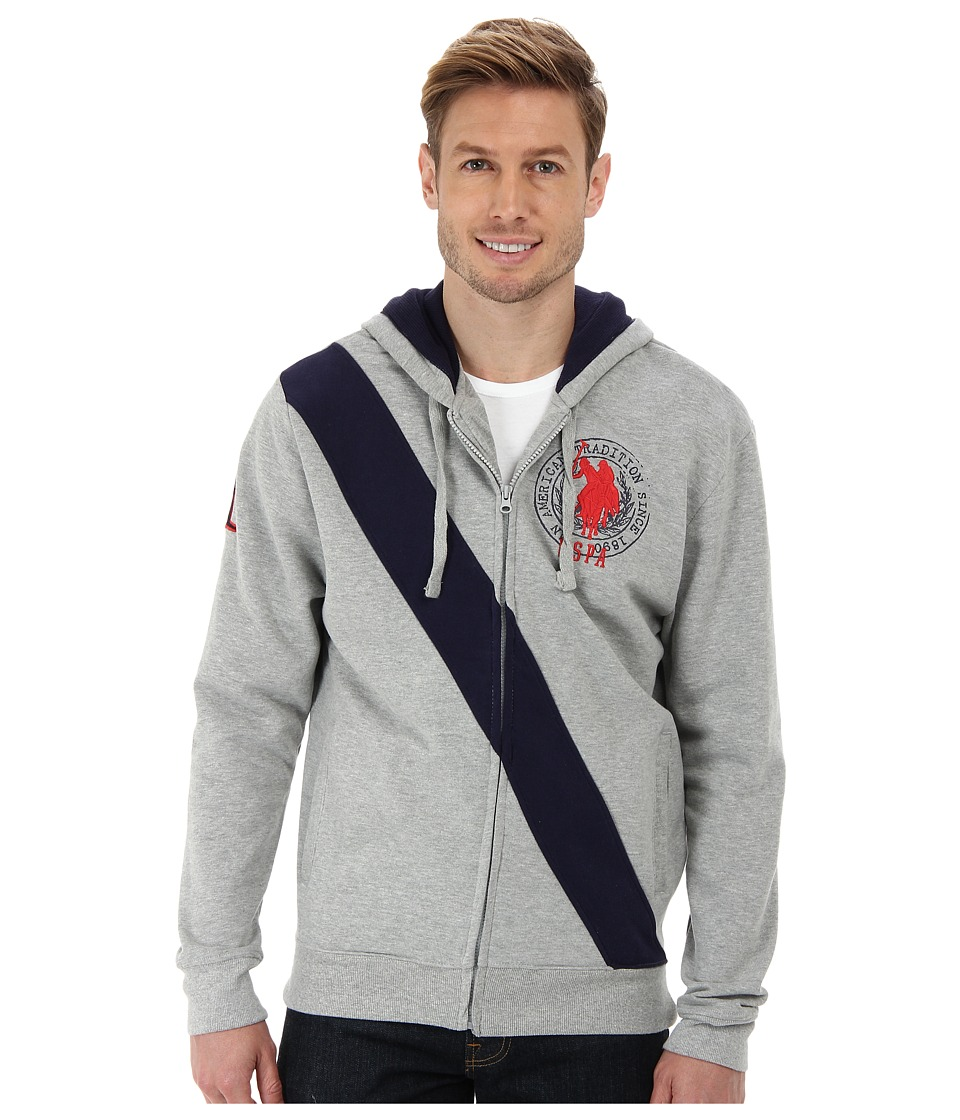 U.S. POLO ASSN. Diagonal Stripe Fleece Hooded Jacket (Heather Gray) Men