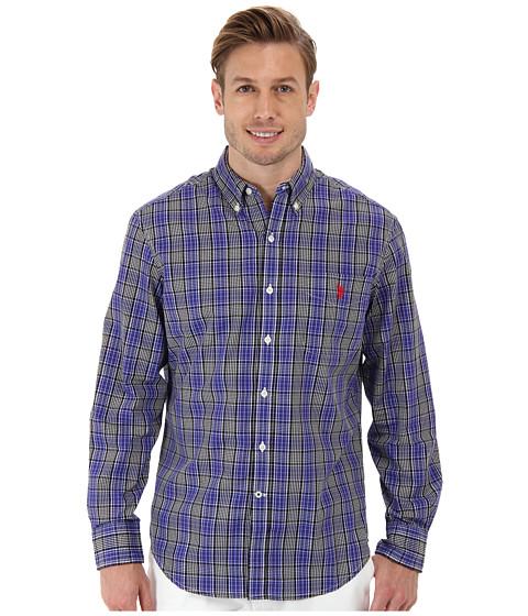 U.S. POLO ASSN. - Plaid Long Sleeve Sport Shirt (Black) Men's Long Sleeve Button Up