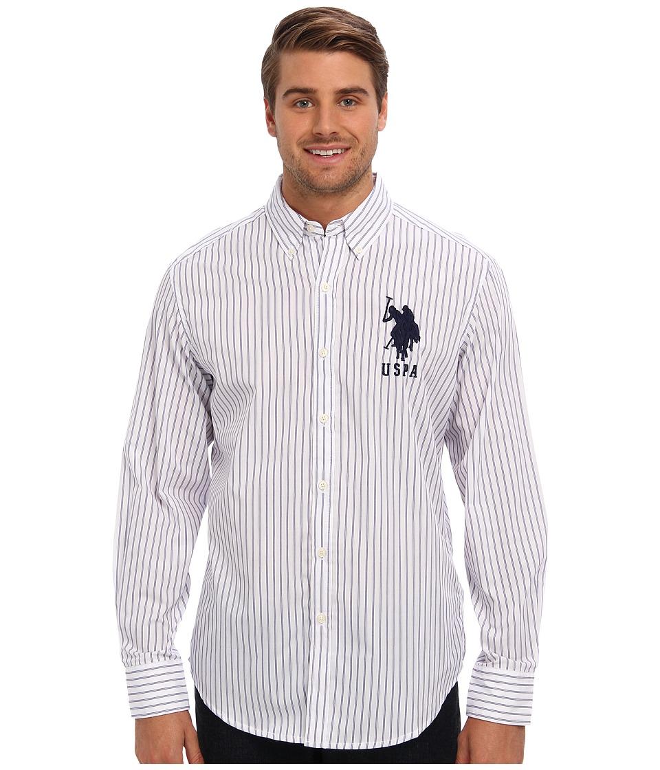 U.S. POLO ASSN. - Vertical Stripe Long Sleeve Poplin Woven Shirt (Dark Violet) Men