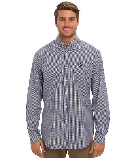 U.S. POLO ASSN. - Poplin Small Check Long Sleeve Sport Shirt (Marina Blue) Men's Long Sleeve Button Up