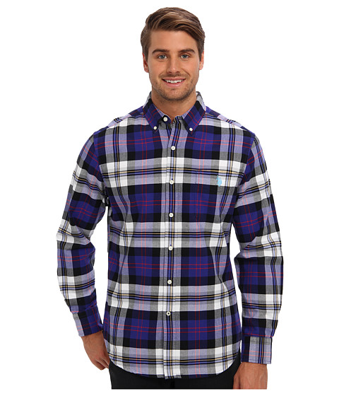 U.S. POLO ASSN. - Plaid Oxford Button Down Collar Shirt (Dark Violet) Men's Long Sleeve Button Up