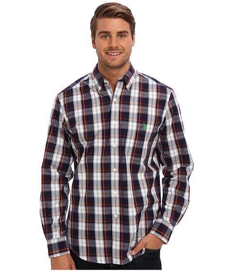 U.S. POLO ASSN. - Medium Check Long Sleeve Oxford Shirt (Burgundy) Men