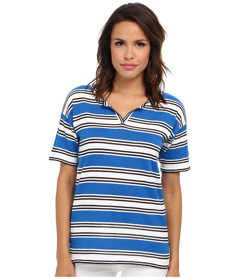 Jones New York - S/S Crew Neck Split Front Stripe (Cove Blue) Women's Short Sleeve Pullover
