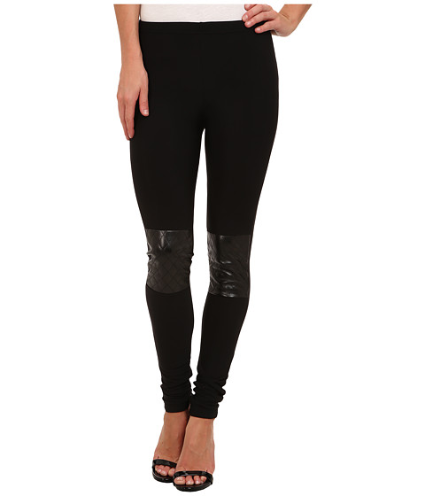 Plush - Fleece-Lined Quilted Knee Patch Legging (Black) Women's Clothing