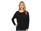 DKNY Jeans Pieced Quilted Pullover Sweatshirt (Noir)