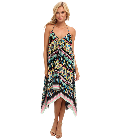 KAS New York - Roxanna Print Scarf Dress (Yellow/Black) Women's Dress