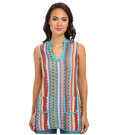 KAS New York - Dena Crochet Tunic (Blue/Yellow) Women's Sleeveless