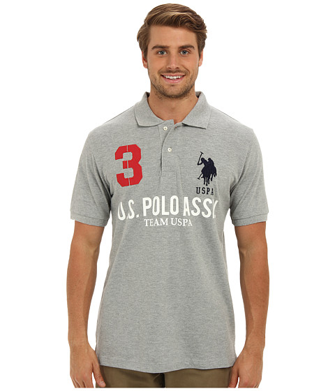 U.S. POLO ASSN. - Team U.S. Polo Assn. Polo Shirt (Heather Gray) Men's Short Sleeve Knit