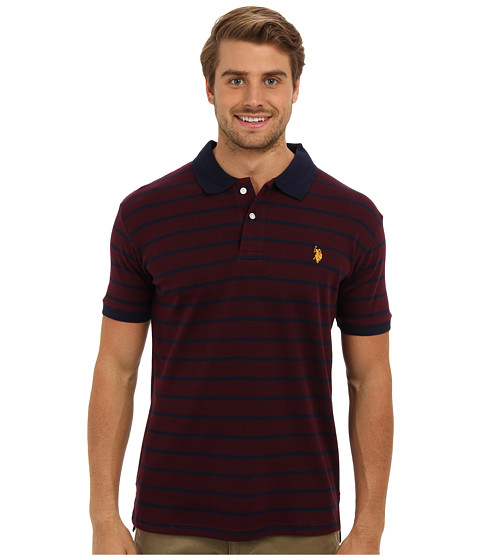U.S. POLO ASSN. - Slim Fit Interlock Stripe Polo (Burgundy) Men