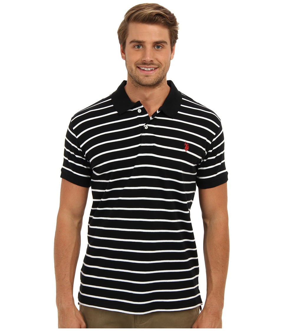 U.S. POLO ASSN. - Slim Fit Interlock Stripe Polo (Black) Men's Short Sleeve Knit
